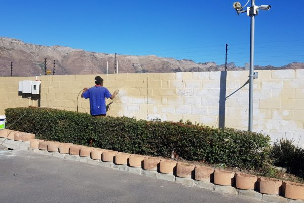 Boundary Wall Brown Spraying
