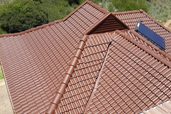 Brown tile roof after