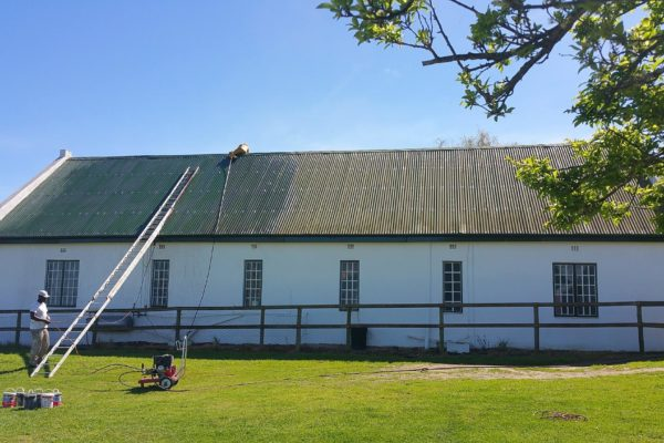 Farm House Roof spray green Before and During